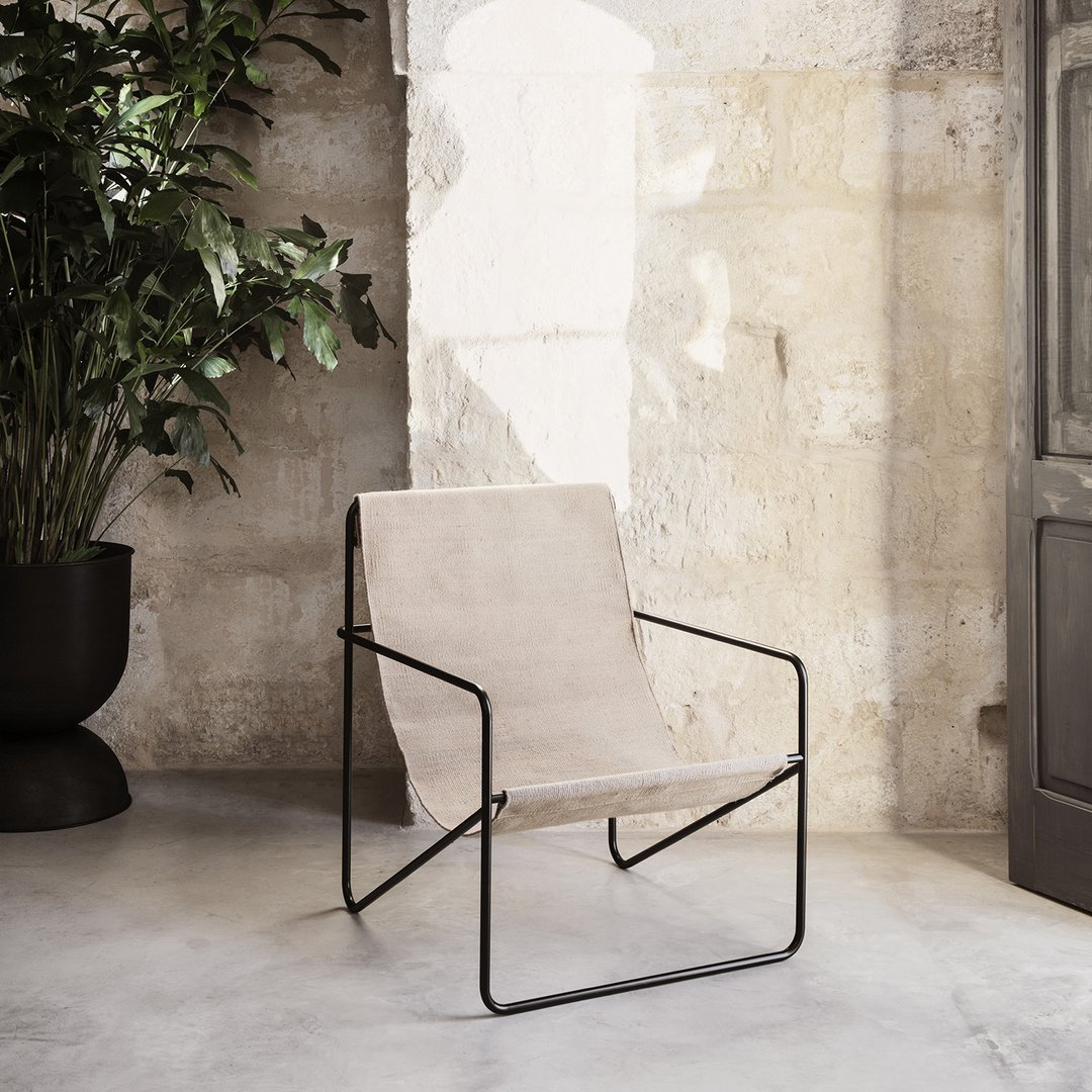Desert Chair - Black Frame and Cashmere Fabric - Angle View In Situ Outdoors