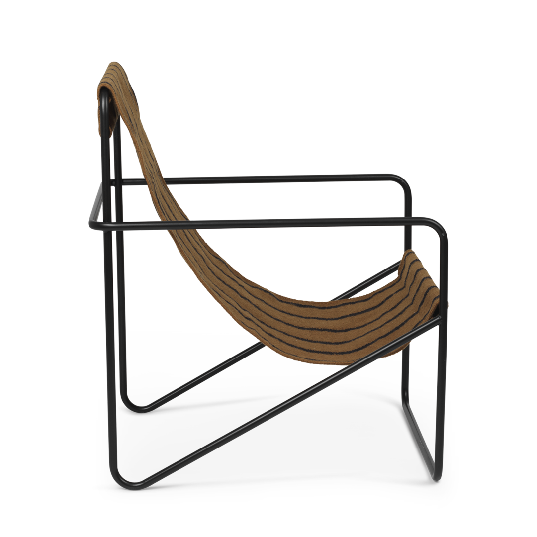 Desert Chair - Black Frame and Stripes Fabric - Side View Transparent Background