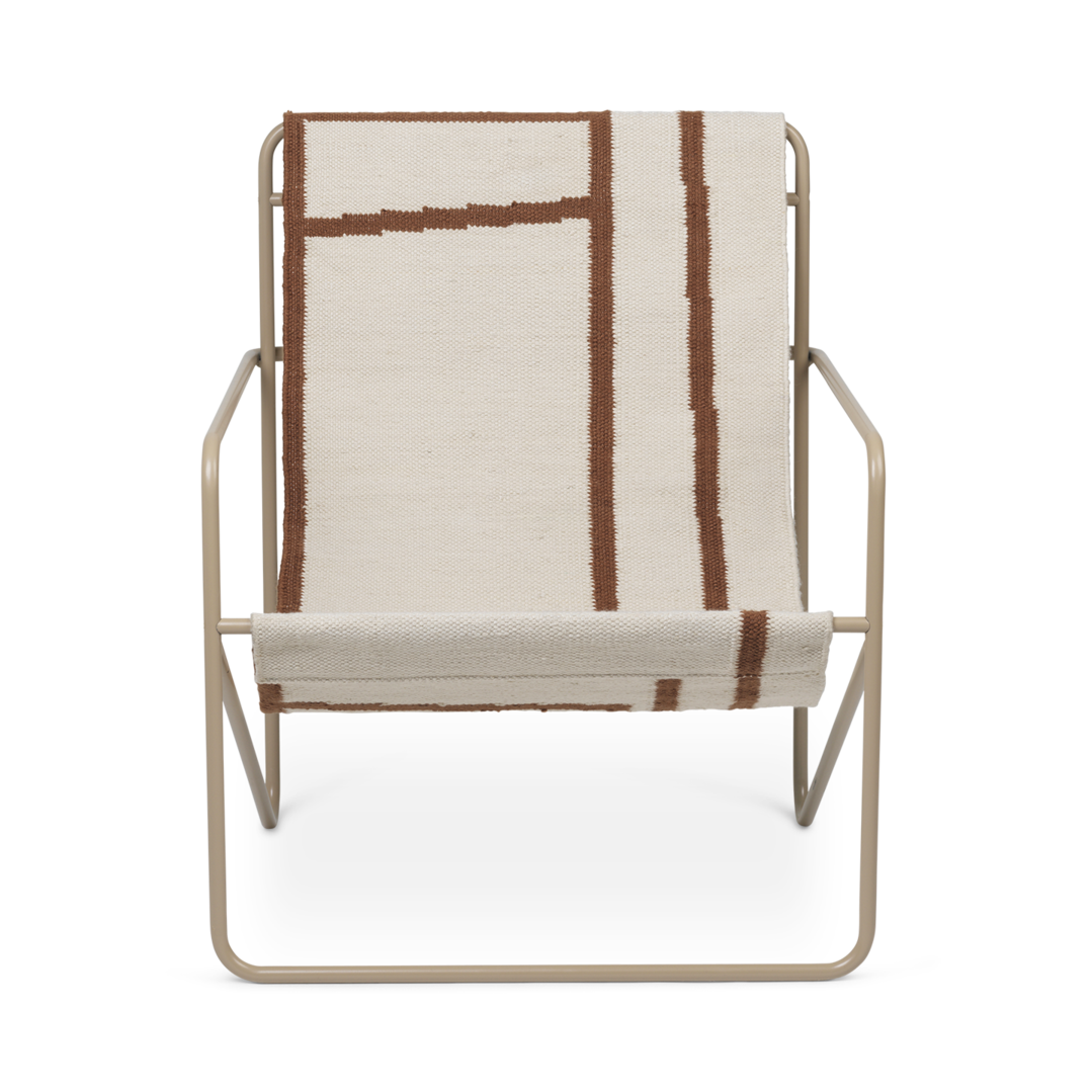 Desert Chair - Cashmere Frame and Shapes Fabric - Front View Transparent Background