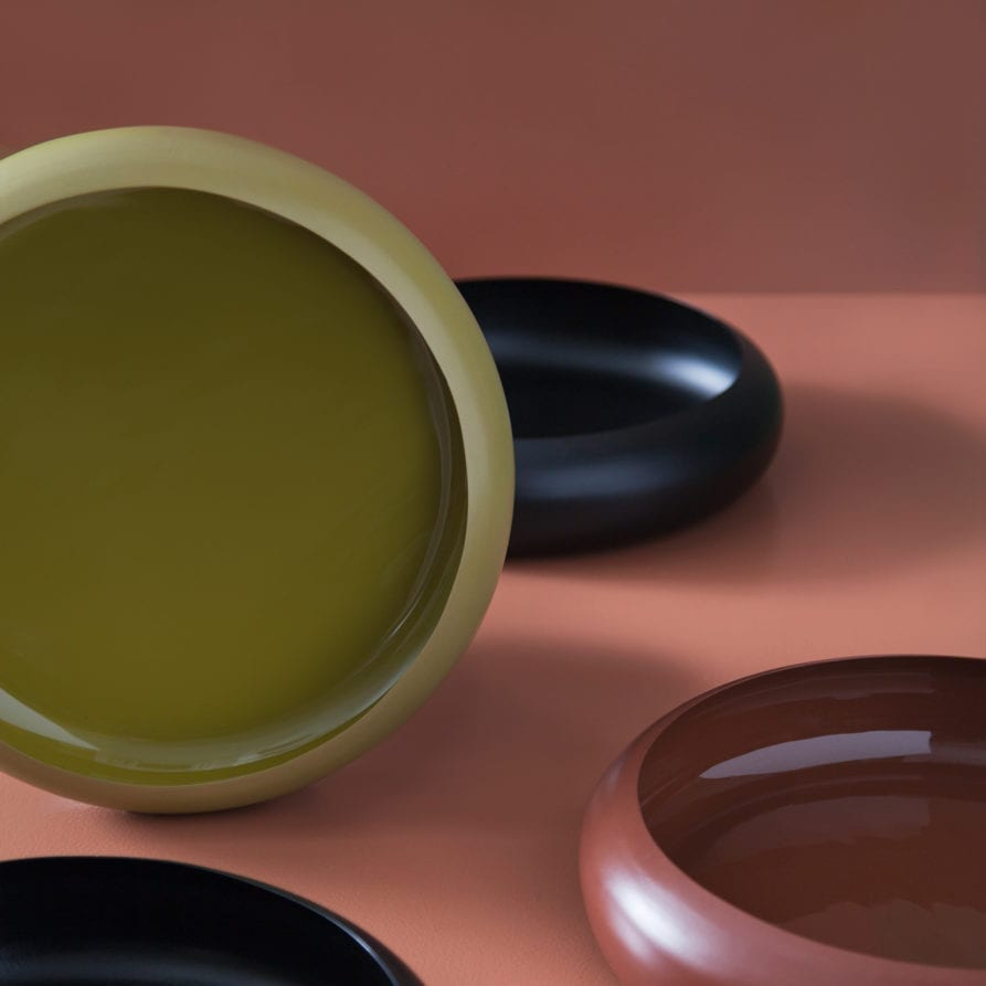 Lightly Infinity Bowl - Fennel, Black and Ochre - Studio Image